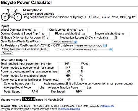 Bicycle Power Calculator at https://www.indoorcycleinstructor.com