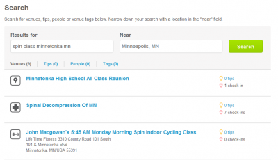 Use FourSquare to promote your spinning class
