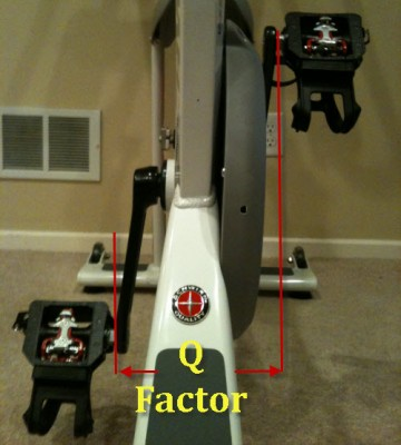 Q factor on a spinning indoor cycling bike