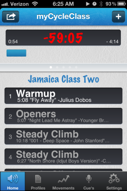 my cycle class iphone app for spinning classes