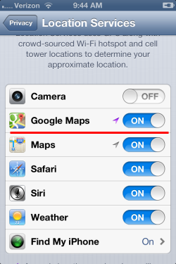 Turn on location services for google maps