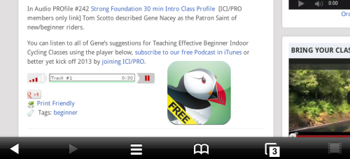 My iPhone running Puffin plays the Podcast just fine :)