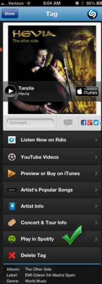 Shazam Tags with Spotify
