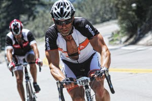 Michael working hard during the Tour L'Etape on Mt. Baldy