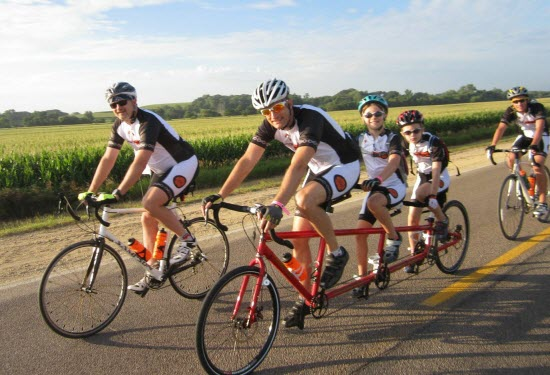 Dr Jay Alberts and his tandem triple crew