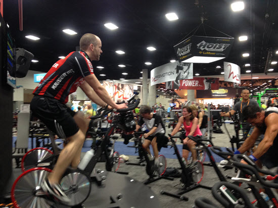 That's Coach Robin Robinson in the pink jersey at IHRSA