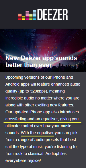 Deezer adds Crossfade and Equalizer to iPhone & Android