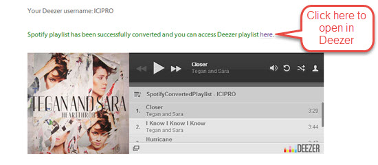 Successfully coverted Spotify playlist over to Deezer