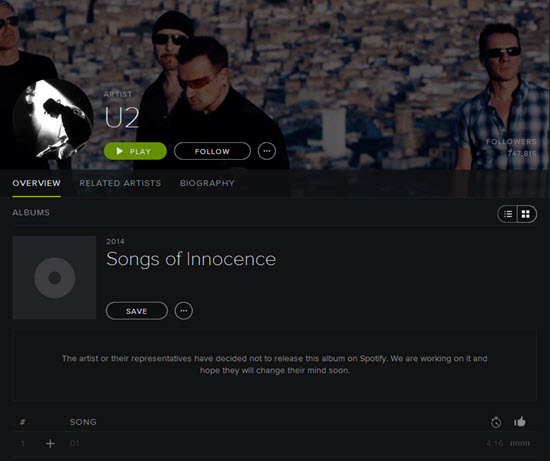 new u2 album in spotify