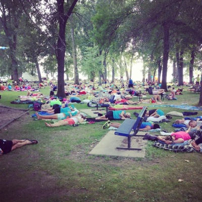 Community nap time at one of the big exchanges on Saturday afternoon.