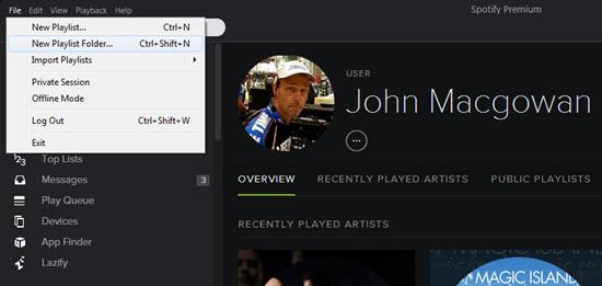 Create new playlist folder in Spotify
