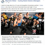 Remarkable story that ends with her own cycling studio!