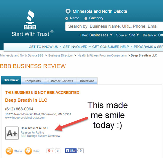 Deep Breath In LLC is A+ rated by the Better Business Bureau