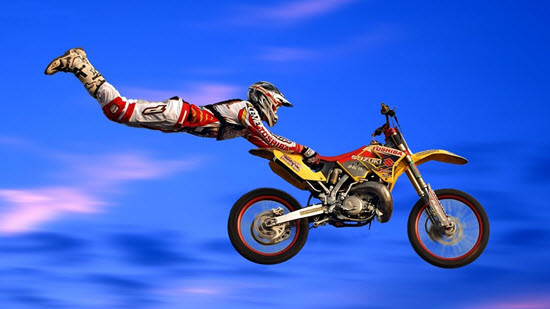 No stunt is too dangerous for extreme motocross competitions.