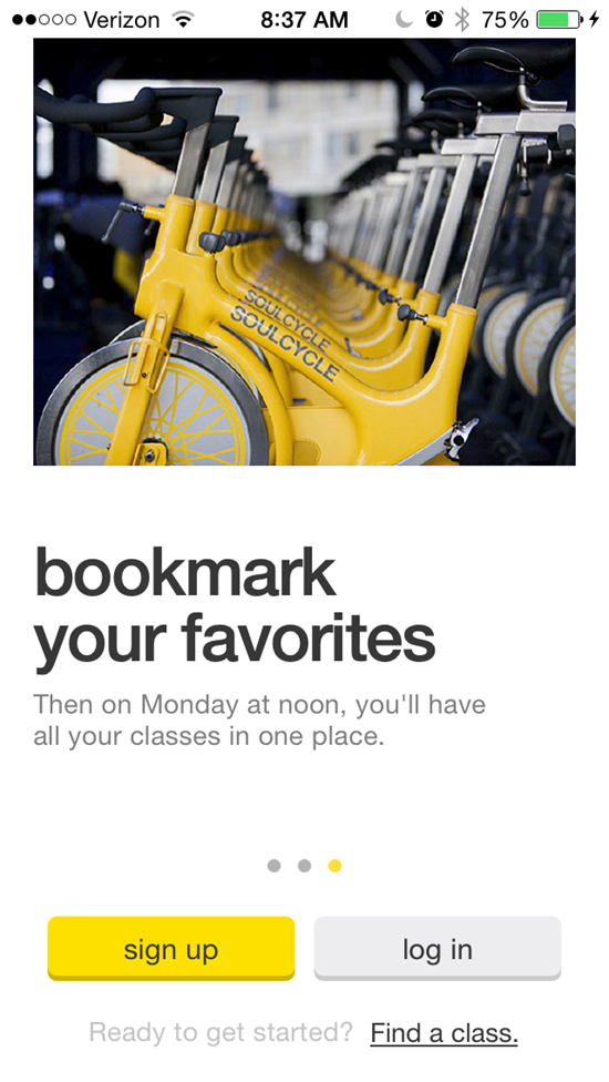 Soulcycle iPhone App reservation