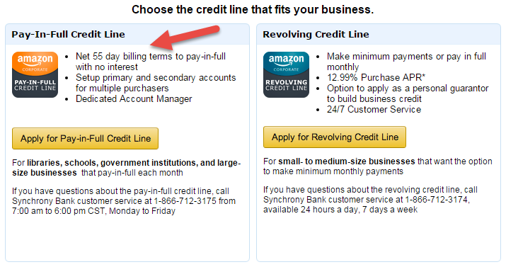 Amazon Business Credit Line for fitness studios