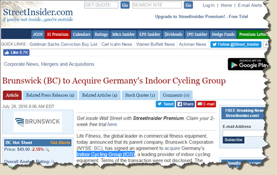 ICG (Indoor Cycling Group) has been purchased by Life Fitness / Brunswick